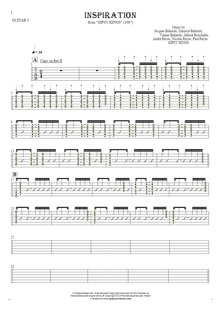Inspiration - Tablature (rhythm values) for guitar - guitar 3 part