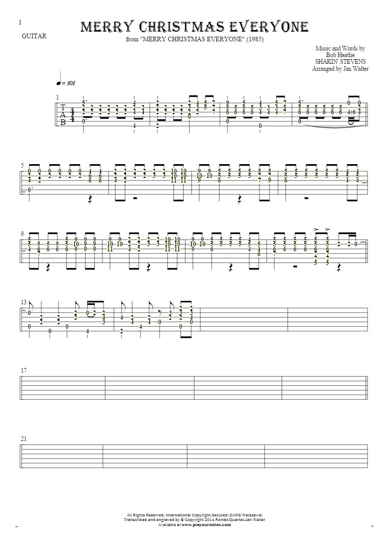 Merry Christmas Everyone - Tablature (rhythm values) for guitar solo (fingerstyle)