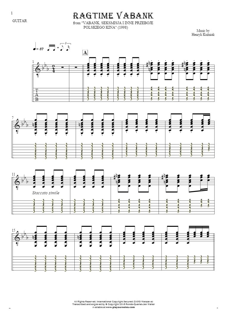 Ragtime Vabank - Notes and tablature for guitar