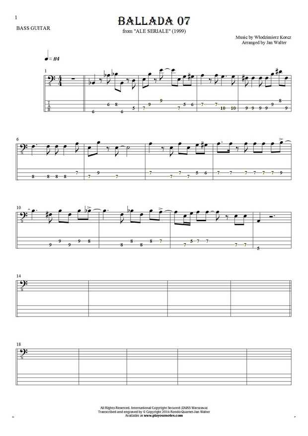 Ballada 07 - Notes and tablature for bass guitar