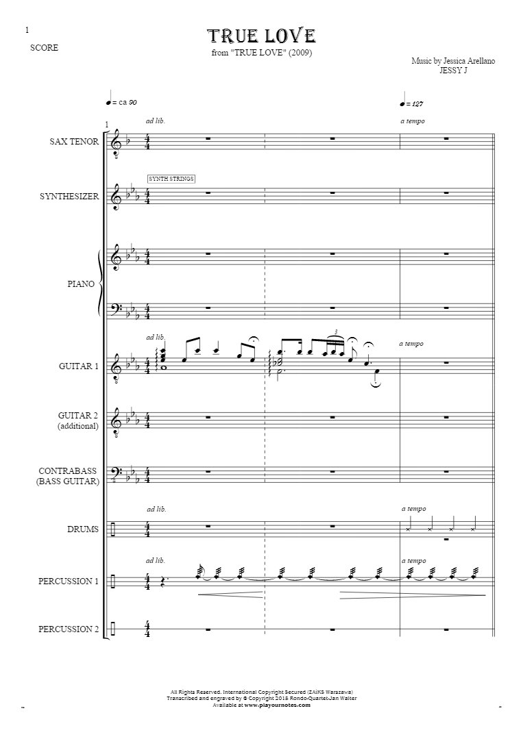True Love - Score with tenore saxophone