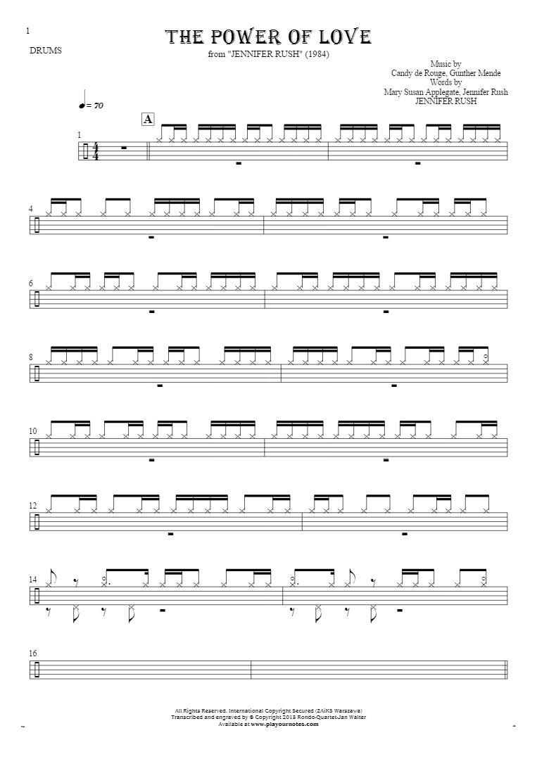 The Power Of Love - Noten für Schlagzeug