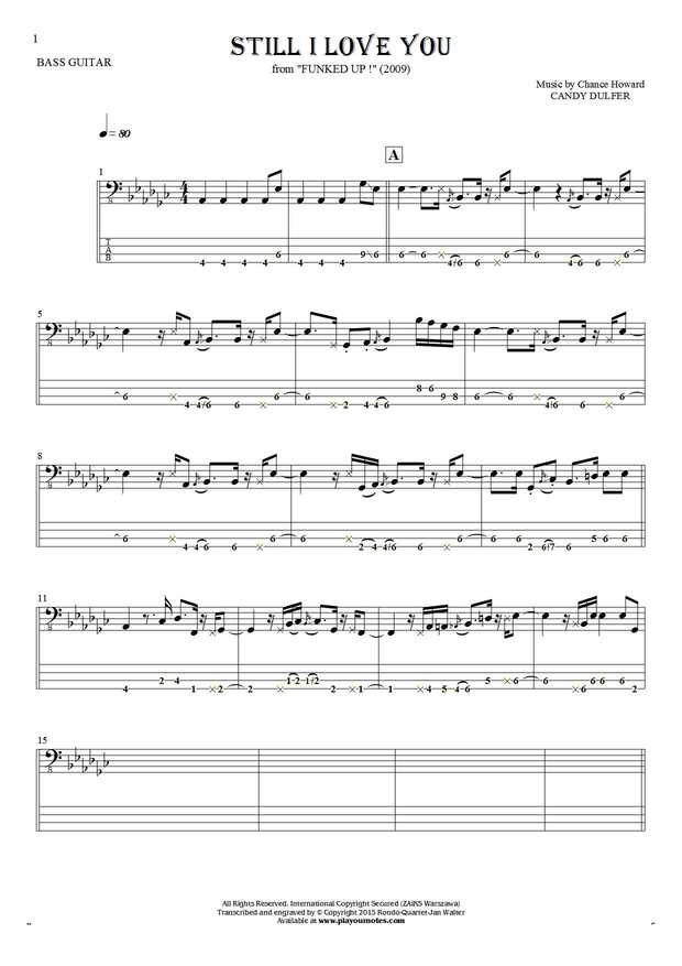 Still I Love You - Notes and tablature for bass guitar