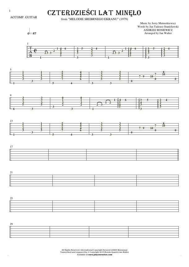 Czterdzieści Lat Minęło - Tablature for guitar - accompaniment