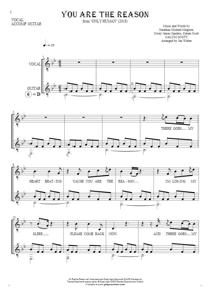 You Are The Reason - Notes and lyrics for vocal with guitar accompaniment