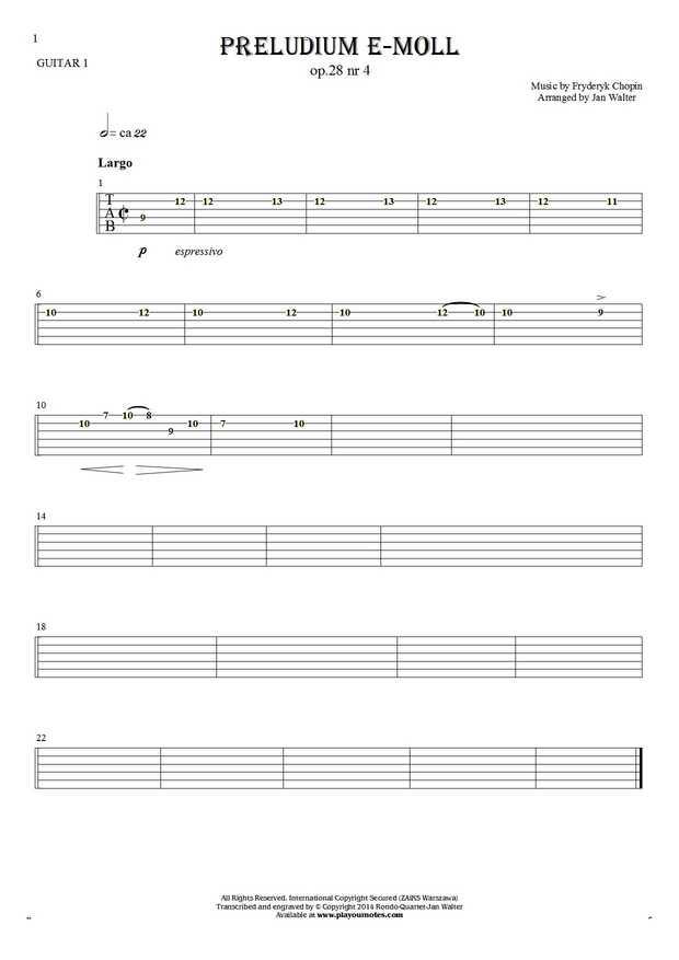 Preludium e-moll op. 28 nr 4 - Tabulatura na gitarę - partia gitary 1