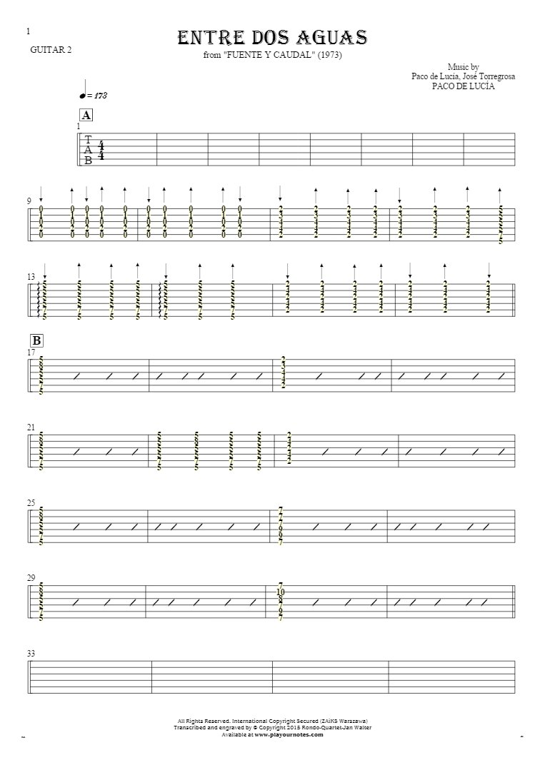 Entre dos aguas - Tablature for guitar - guitar 2 part