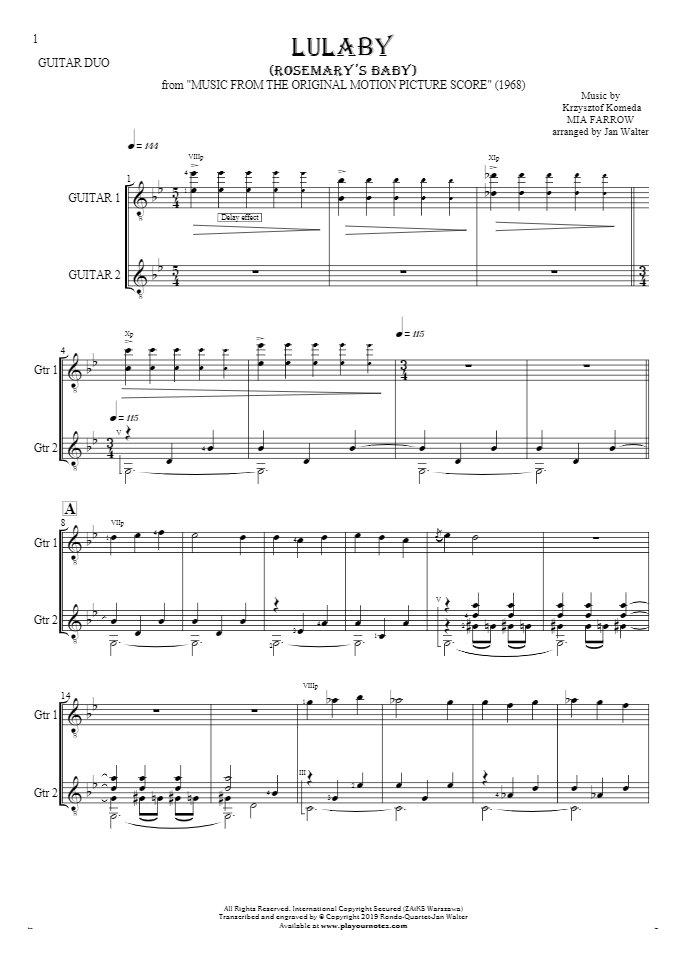 Lullaby - Rosemary's Baby - Noten für Solo Stimme mit Gitarrenbegleitung
