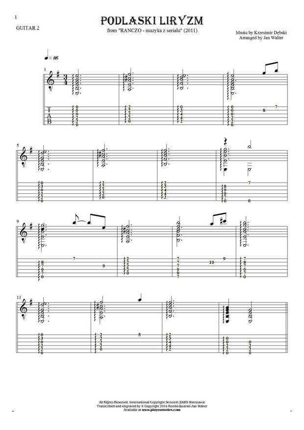 Podlaski liryzm (Ranczo) - Nuty i tabulatura na gitarę - partia gitary 2