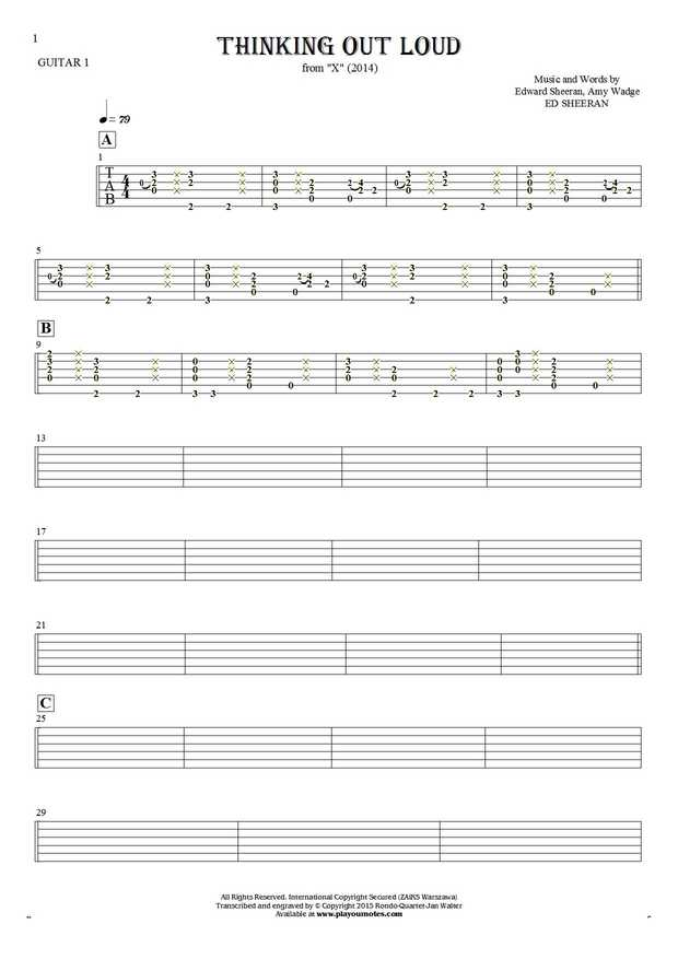 Thinking Out Loud - Tablature for guitar - guitar 1 part