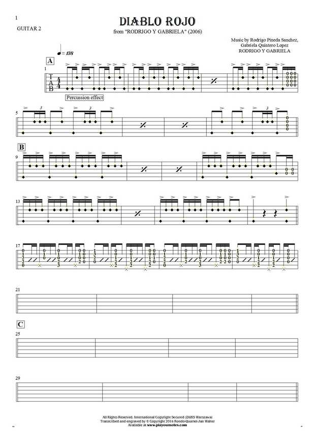 Diablo Rojo - Tablature (rhythm values) for guitar - guitar 2 part