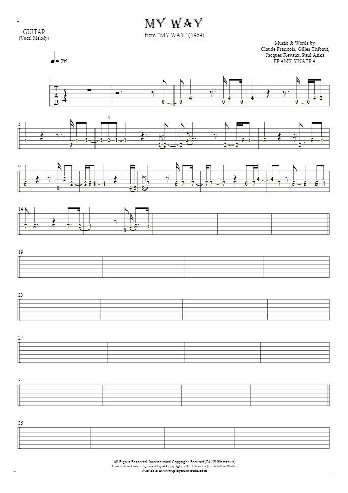 My Way - Tablature (rhythm. values) for guitar - melody line