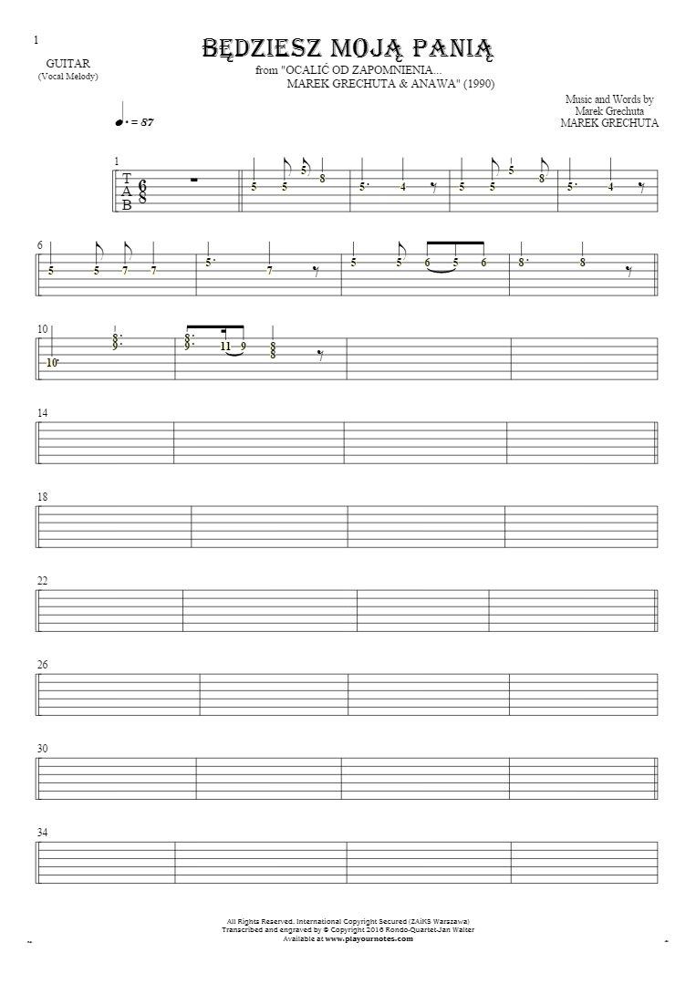Będziesz moją panią - Tablature (rhythm values) for guitar