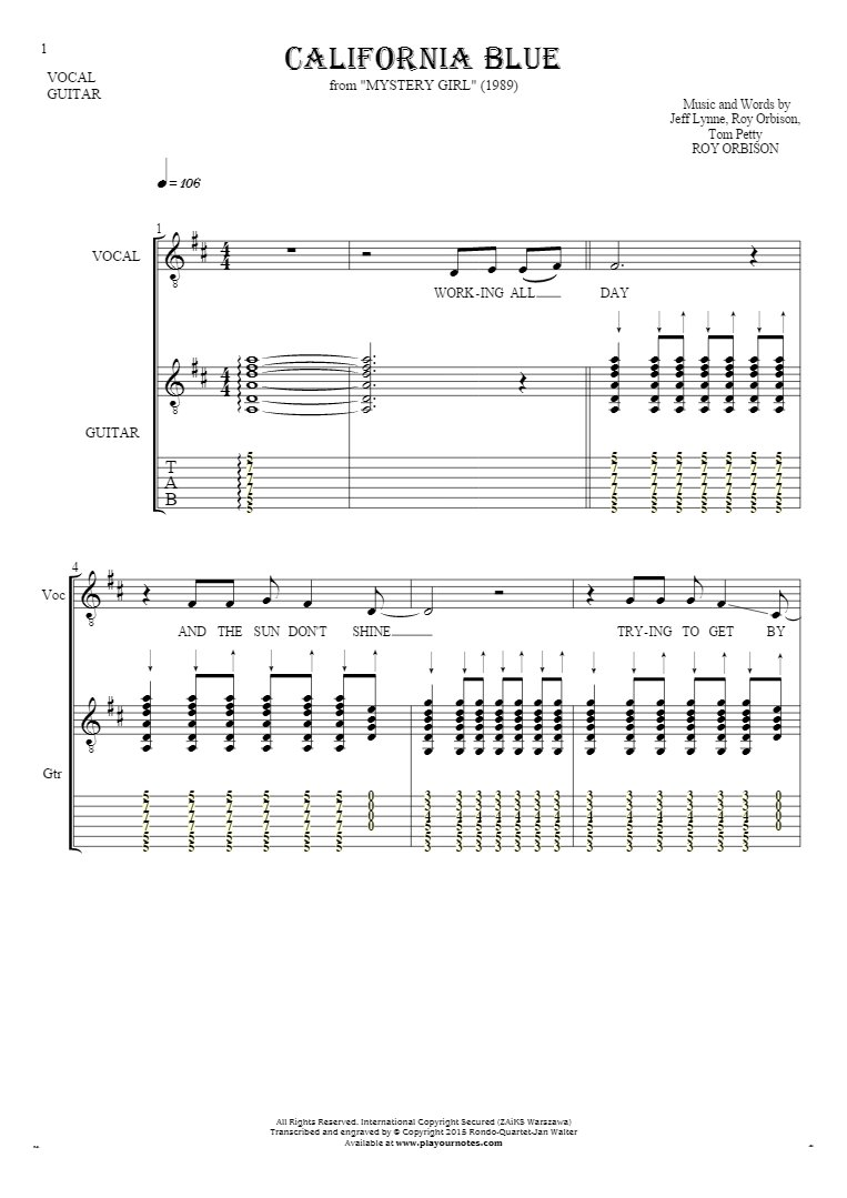 California Blue - Notes, tablature and lyrics for vocal and guitar