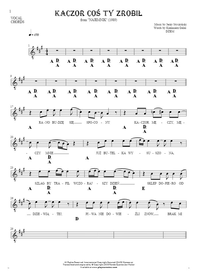 Kaczor coś ty zrobił - Notes, lyrics and chords for vocal with accompaniment
