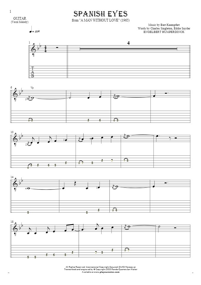 Spanish Eyes - Notes and tablature for guitar - melody line