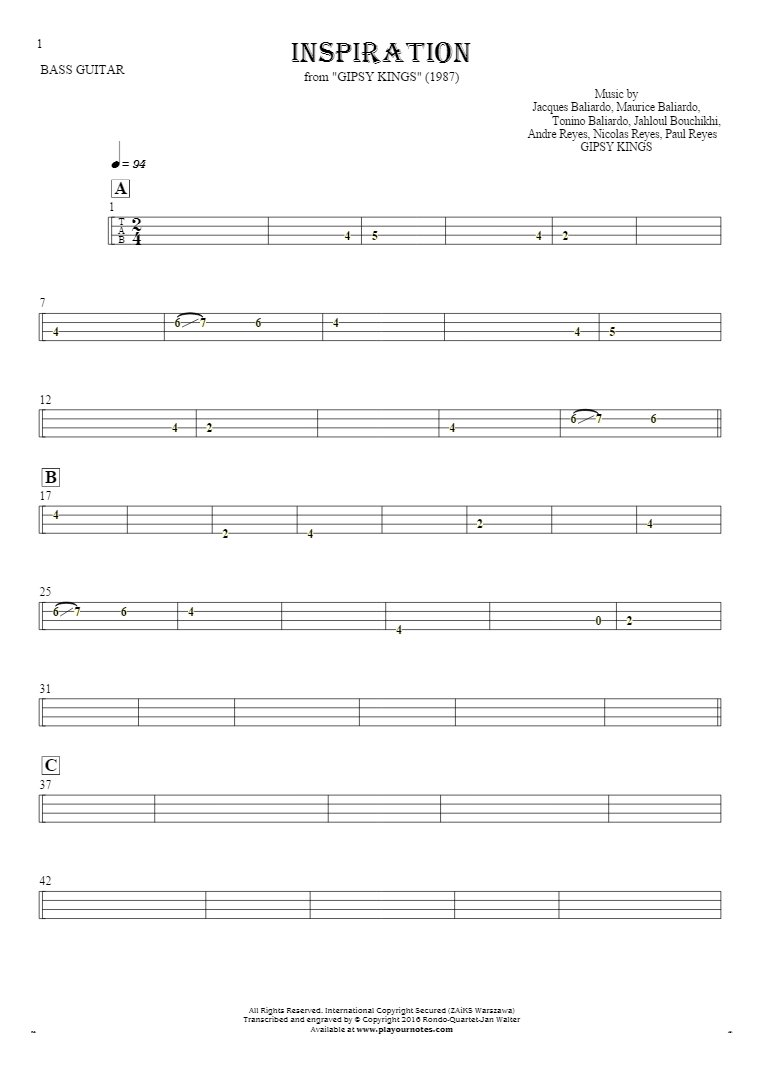 Inspiration - Tablature for bass guitar