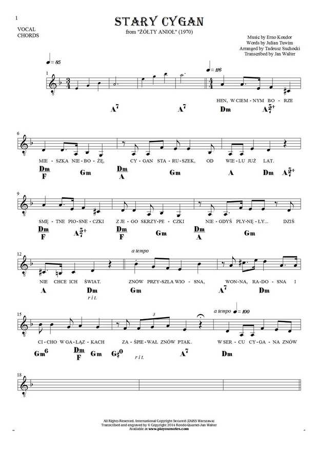 The old Gipsy - Notes, lyrics and chords for solo voice with accompaniment