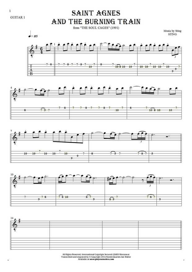 Saint Agnes And The Burning Train - Notes and tablature for guitar - guitar 1 part