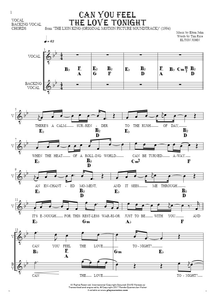 All Music Chords can you feel the love tonight sheet music : Can You Feel the Love Tonight - Notes, lyrics and chords for vocal ...