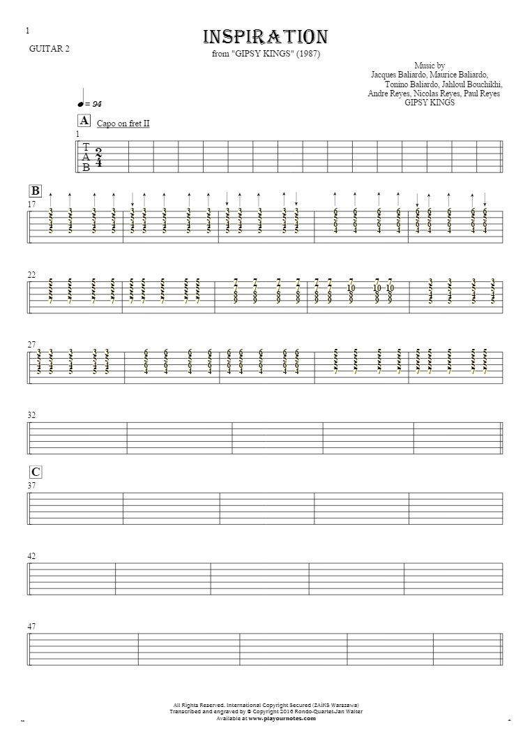 Inspiration - Tablature for guitar - guitar 2 part