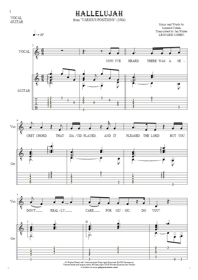 Hallelujah - Notes, tablature and lyrics for solo voice with guitar accompaniment