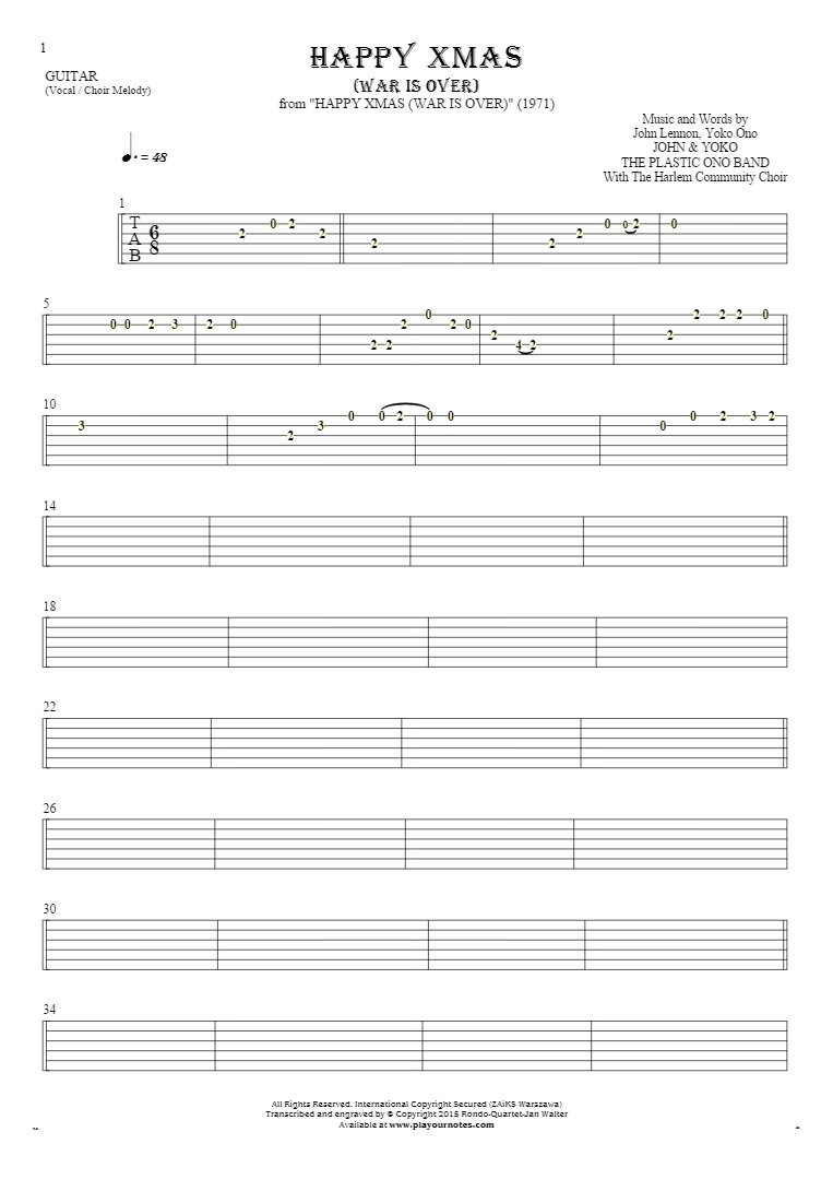 Happy Xmas (War Is Over) - Tablature for guitar