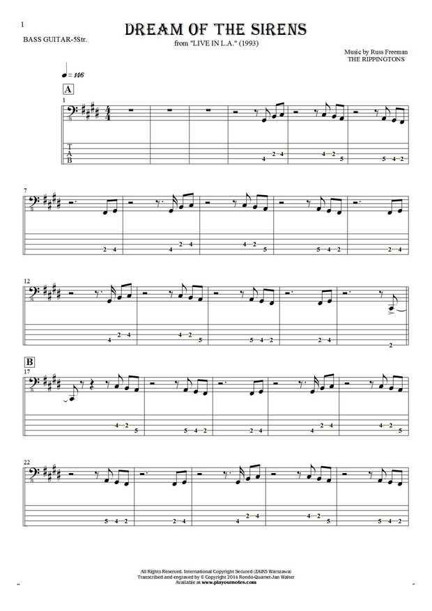 Dream Of The Sirens - Notes and tablature for bass guitar (5-str.)