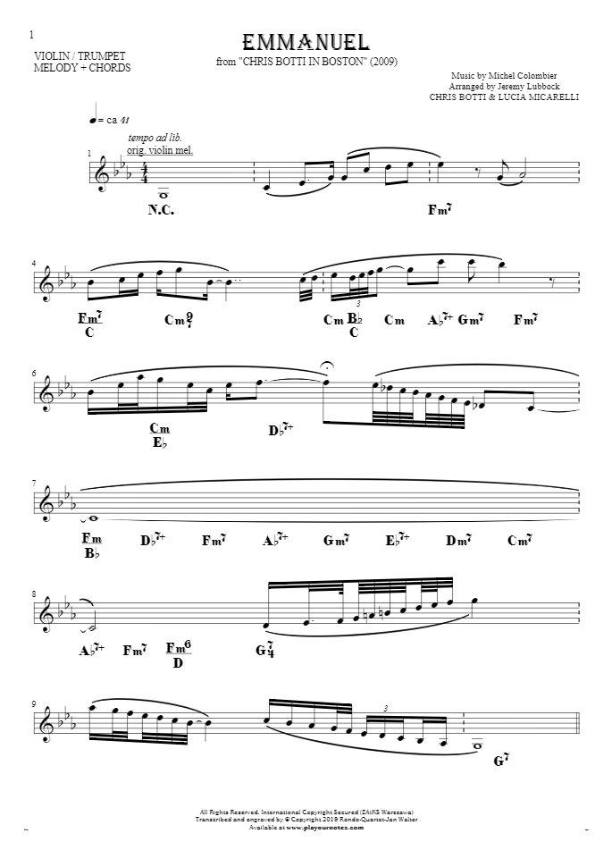 Emmanuel - Noten und Akkorde für Solo Stimme mit Begleitung