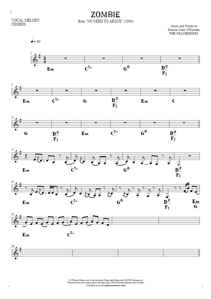 Zombie - Notes and chords for solo voice with accompaniment