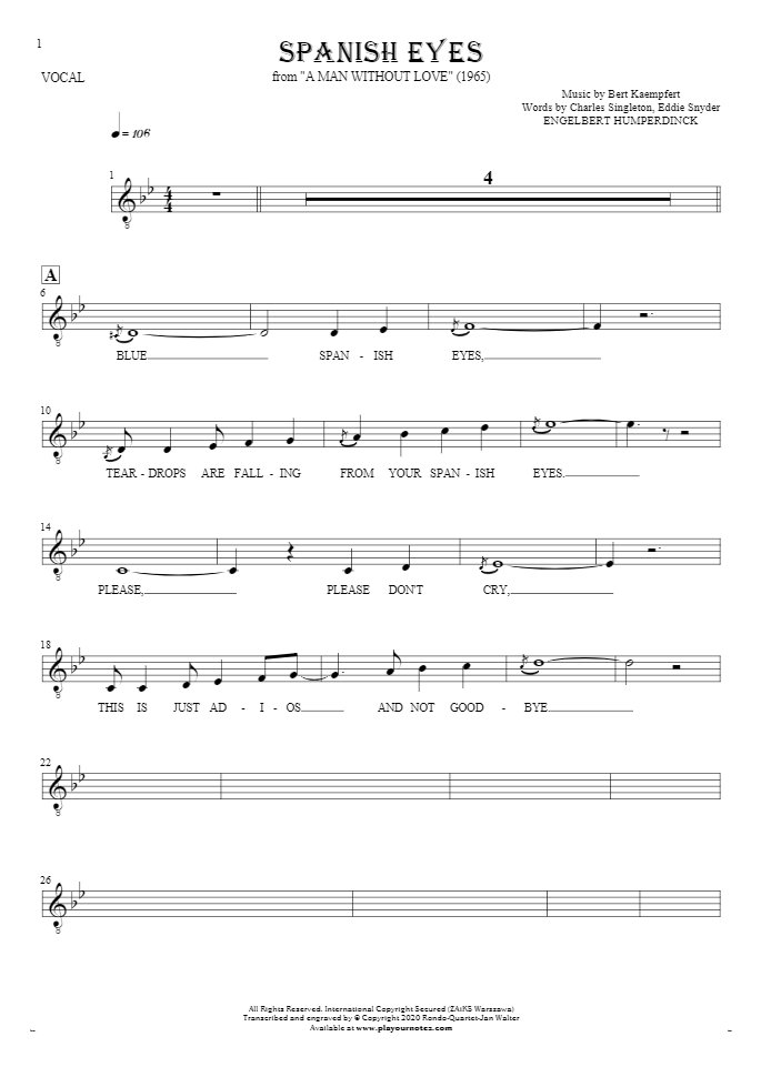 Spanish Eyes - Notes and lyrics for vocal - melody line