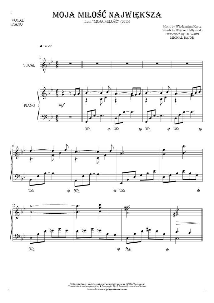 Moja miłość największa - Notes and lyrics for vocal with accompaniment