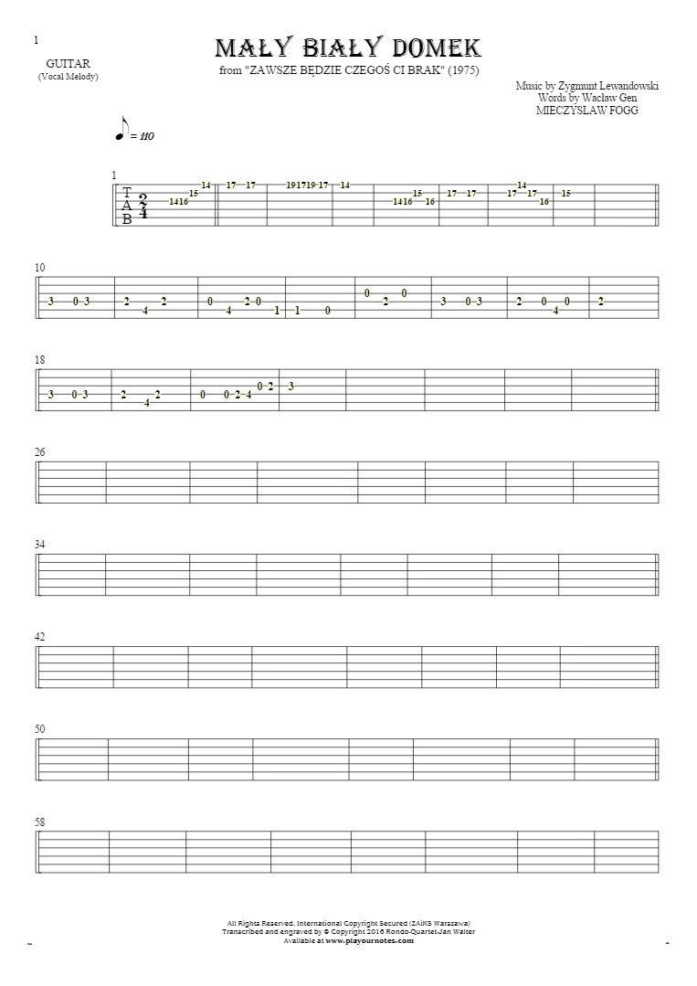 Mały biały domek - Tablature for guitar - melody line