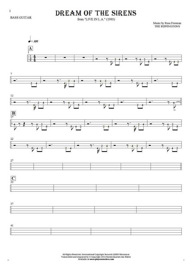 Dream Of The Sirens - Tablature (rhythm values) for bass guitar