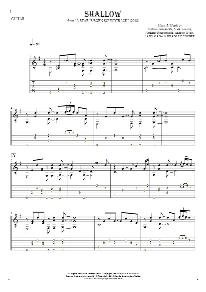 Shallow - Notes and tablature for guitar