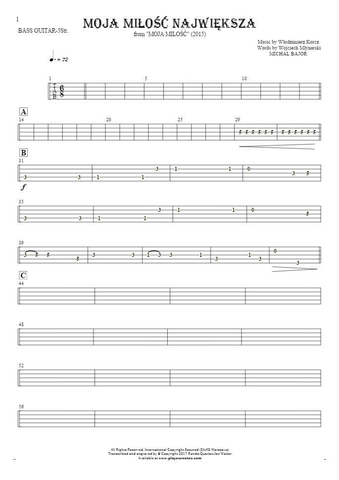 Moja miłość największa - Tablature for bass guitar (5-str.)
