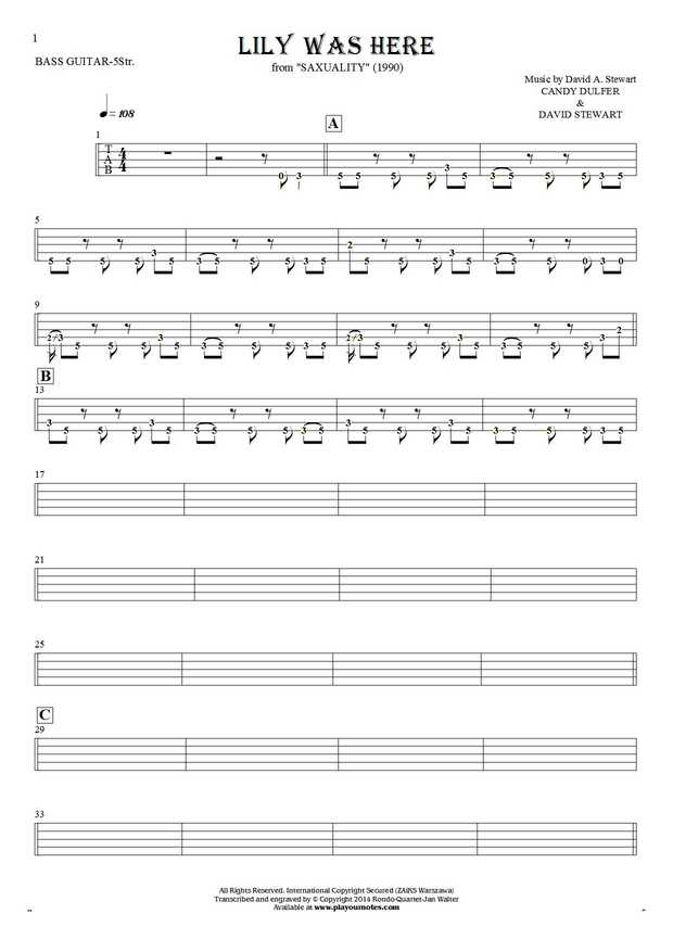 Lily Was Here - Tablature (rhythm values) for bass guitar (5-str.)