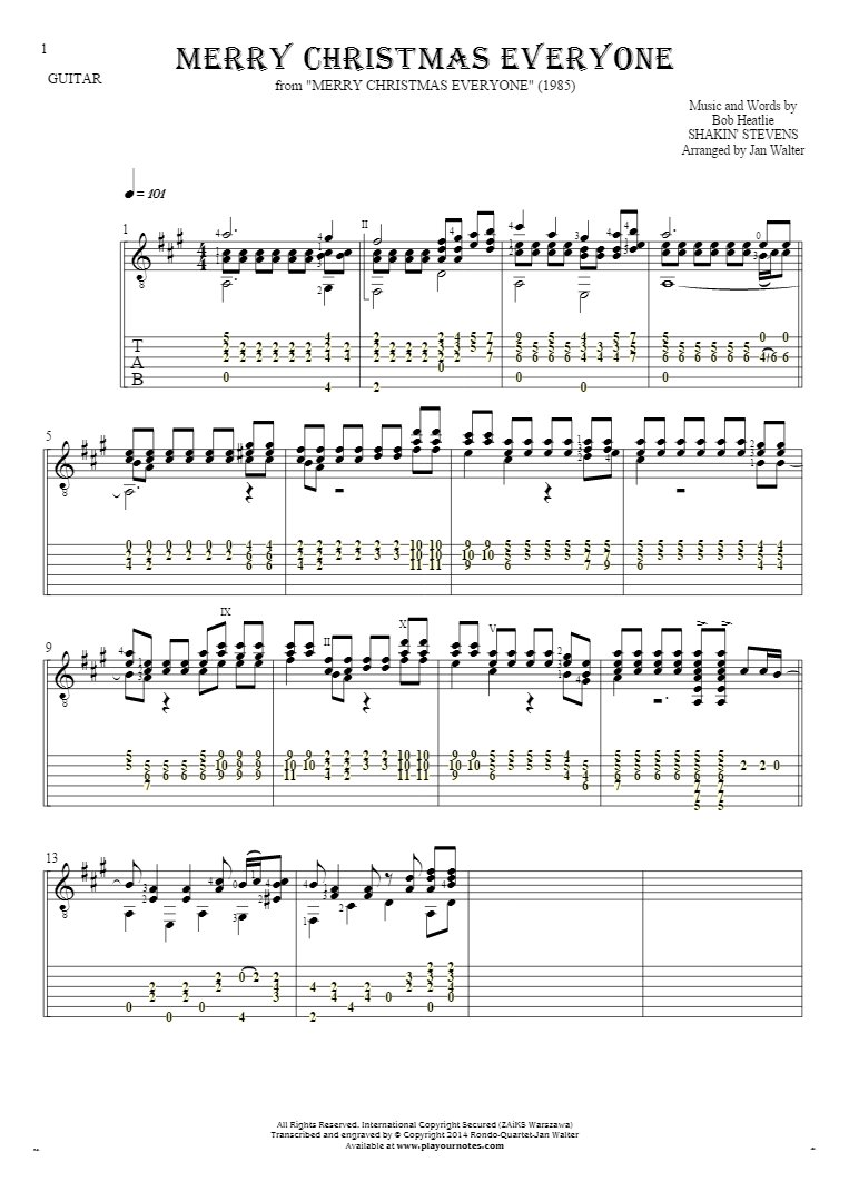Merry Christmas Everyone - Notes and tablature for guitar solo (fingerstyle)