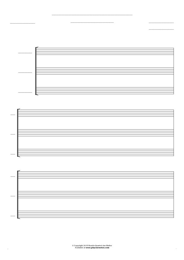 Free Blank Sheet Music - Score for 3 voices