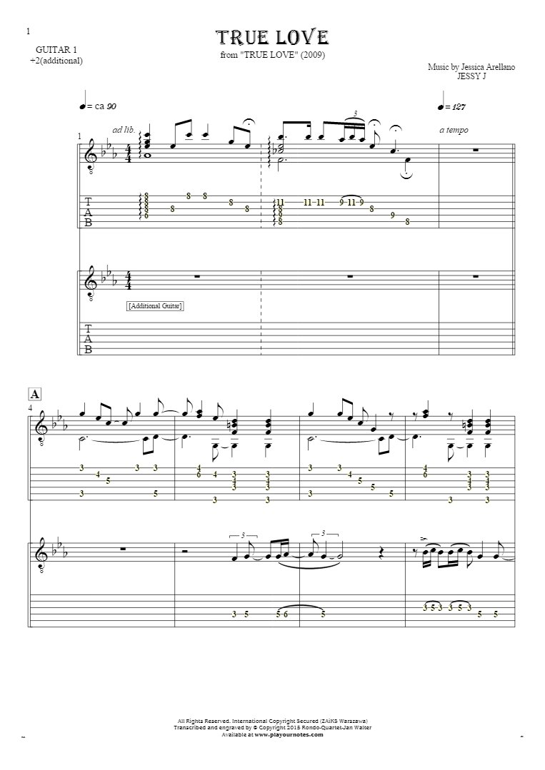 True Love - Notes and tablature for guitar