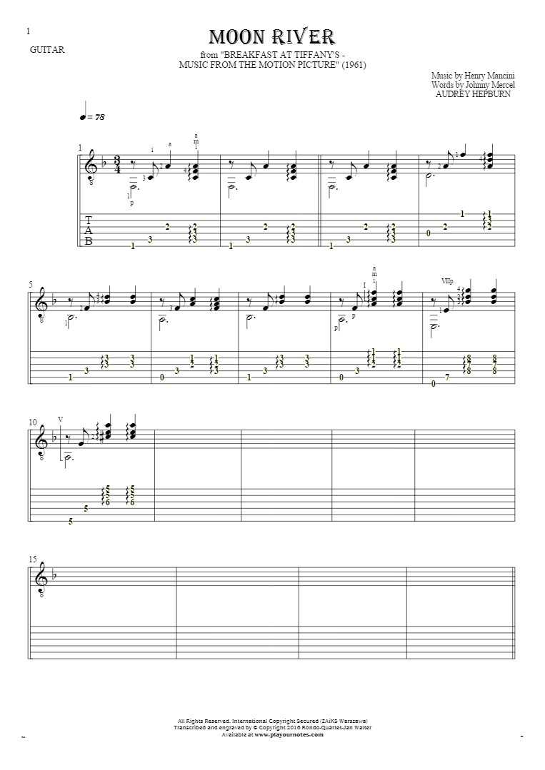 Moon River Notes And Tablature For Guitar Accompaniment