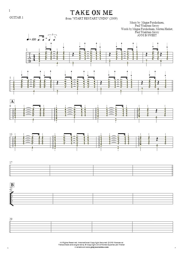Take On Me - Tablature (rhythm values) for guitar - guitar 1 part