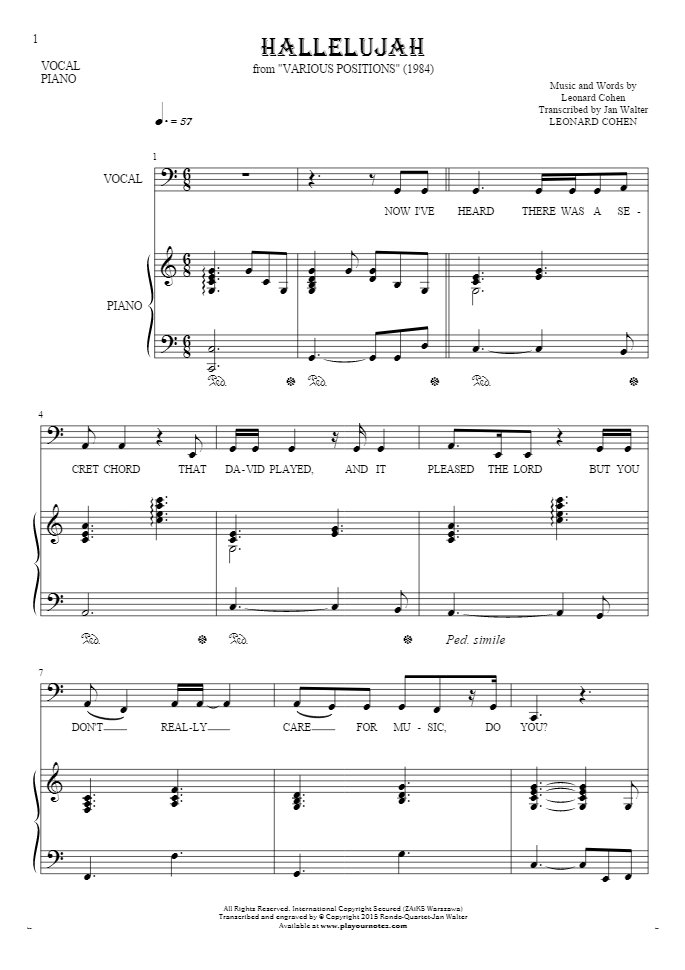 All Music Chords free bass sheet music : Hallelujah - Notes and lyrics-(bass clef) for vocal with ...