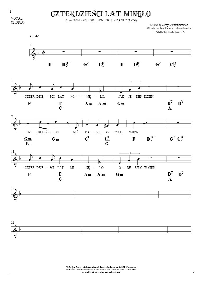Czterdzieści Lat Minęło - Notes, lyrics and chords for solo voice with accompaniment