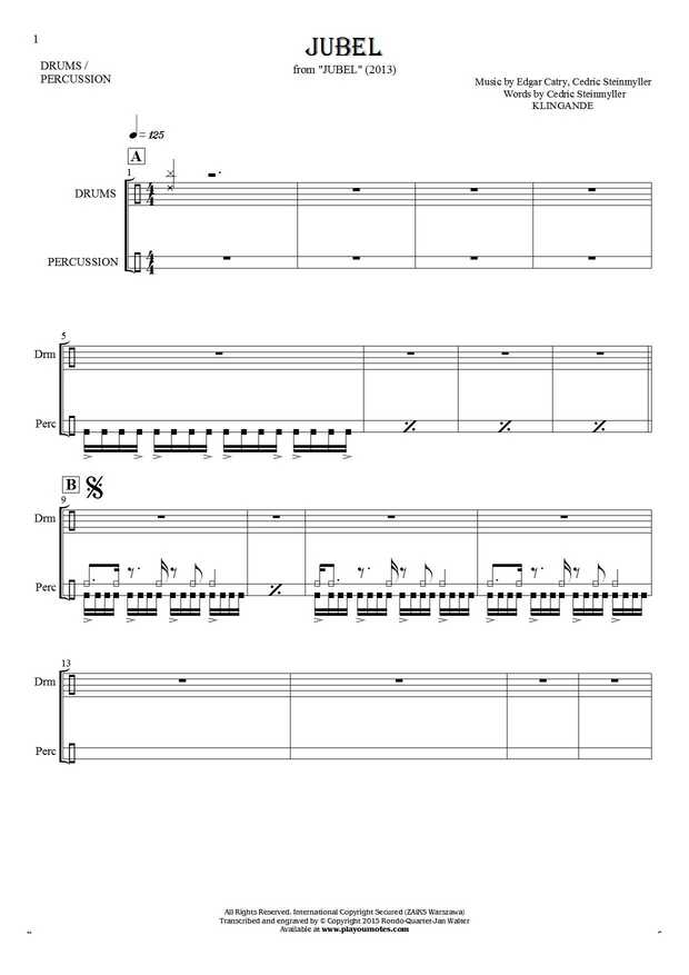 Jubel - Notes for drum kit and percussion instruments