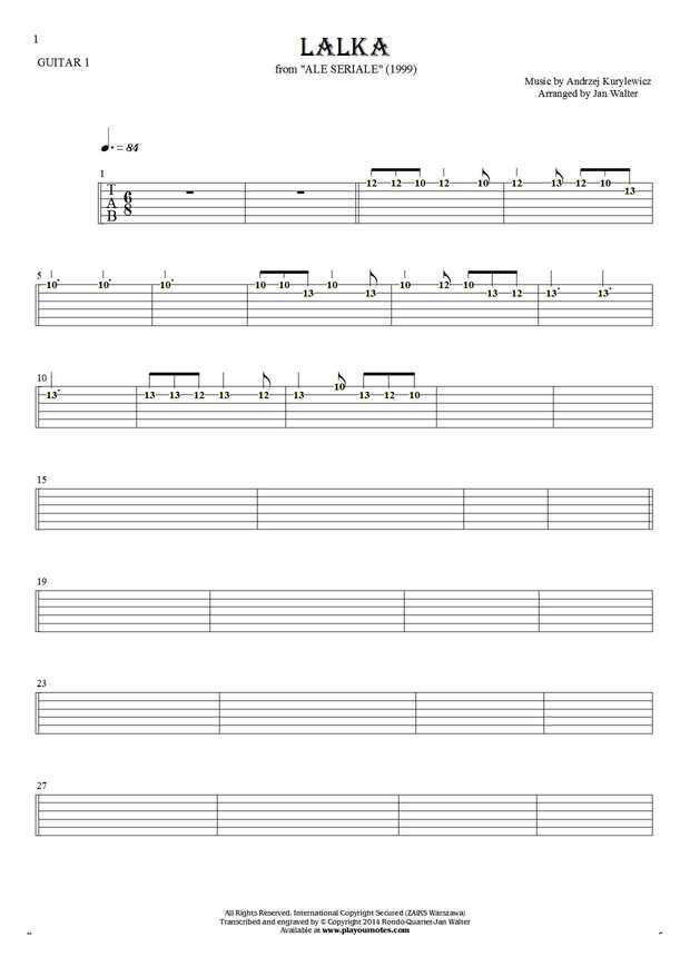 The Doll - Tablature (rhythm values) for guitar - guitar 1 part