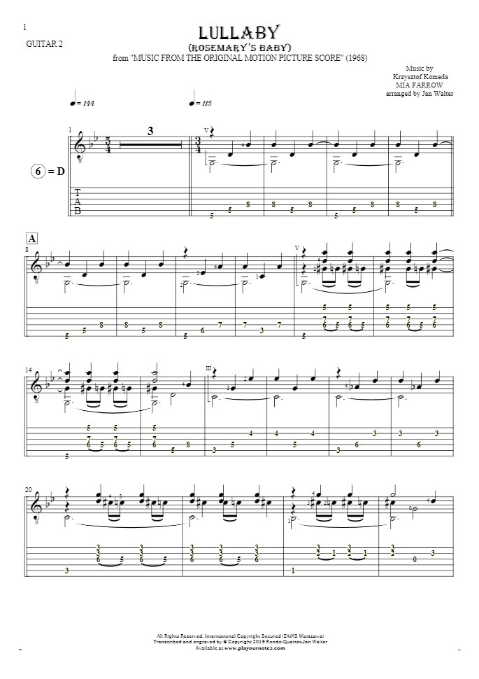 Lullaby - Rosemary's Baby - Notes and tablature for guitar