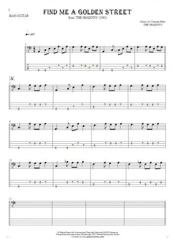 Find Me A Golden Street - Notes and tablature for bass guitar