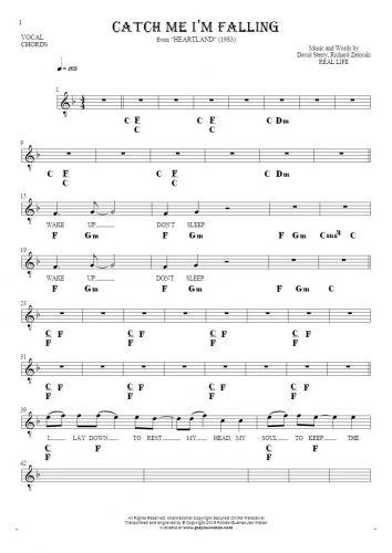Catch Me I'm Falling - Noten, Liedtekst und Akkorde für Gesang mit Begleitung