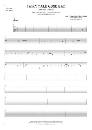 Fairytale Gone Bad (Acoustic Version) - Tablature for guitar - melody line